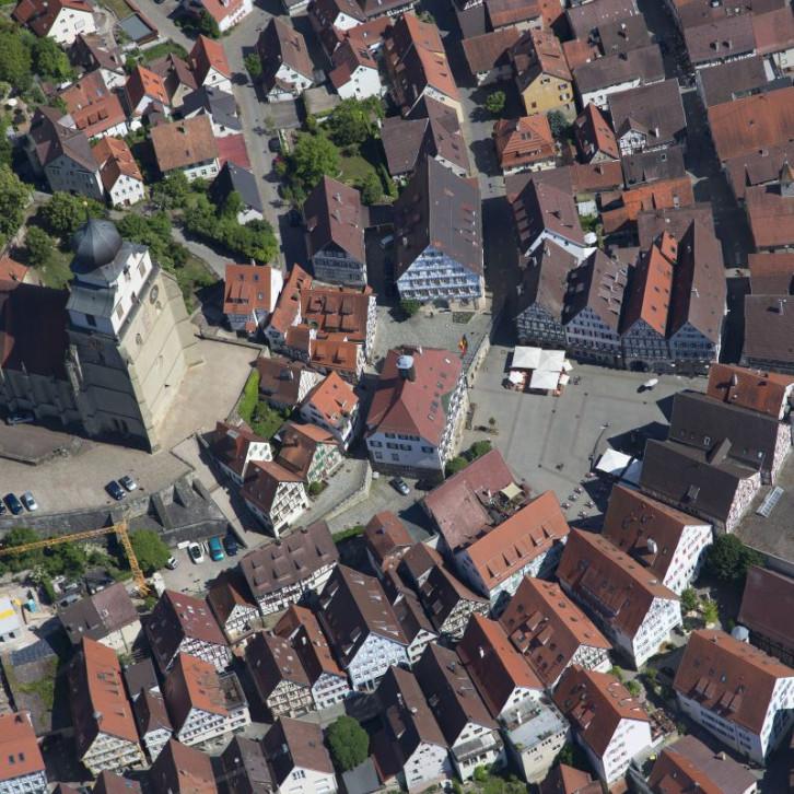 Herrenberger Marktplatz Vogelperspektive