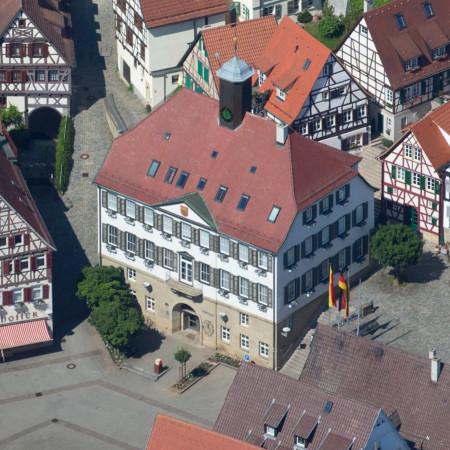 Marktplatz Herrenberg von oben