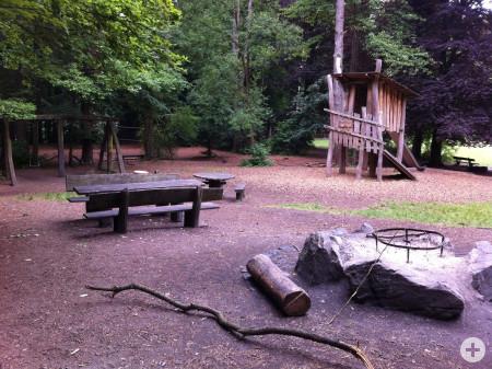 Grillstelle mit Schaukeln und Kletterturm aus Holz