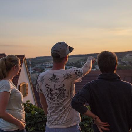 Blick von der Stiftskirche über Herrenberg im Sonnenuntergang