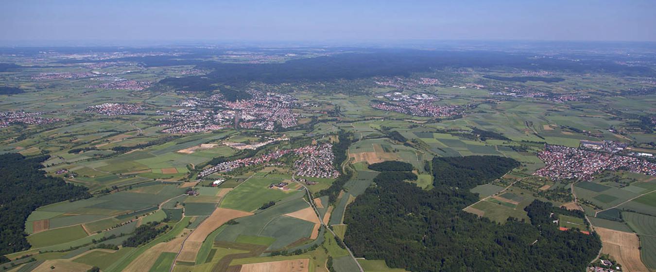 Luftbild von Herrenberg und Umgebung
