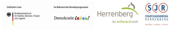 Logo der Herrenberger Partnerschaft für Demokratie: Demokratie leben, Stadt Herrenberg, Stadtjugendring