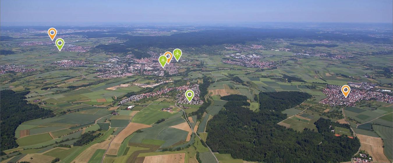 Luftbild der Stadt Herrenberg mit Markern