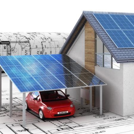Zeichnungen eines Wohnhauses mit Sonnekolletoren auf dem Dach und Elektroauto im Carport