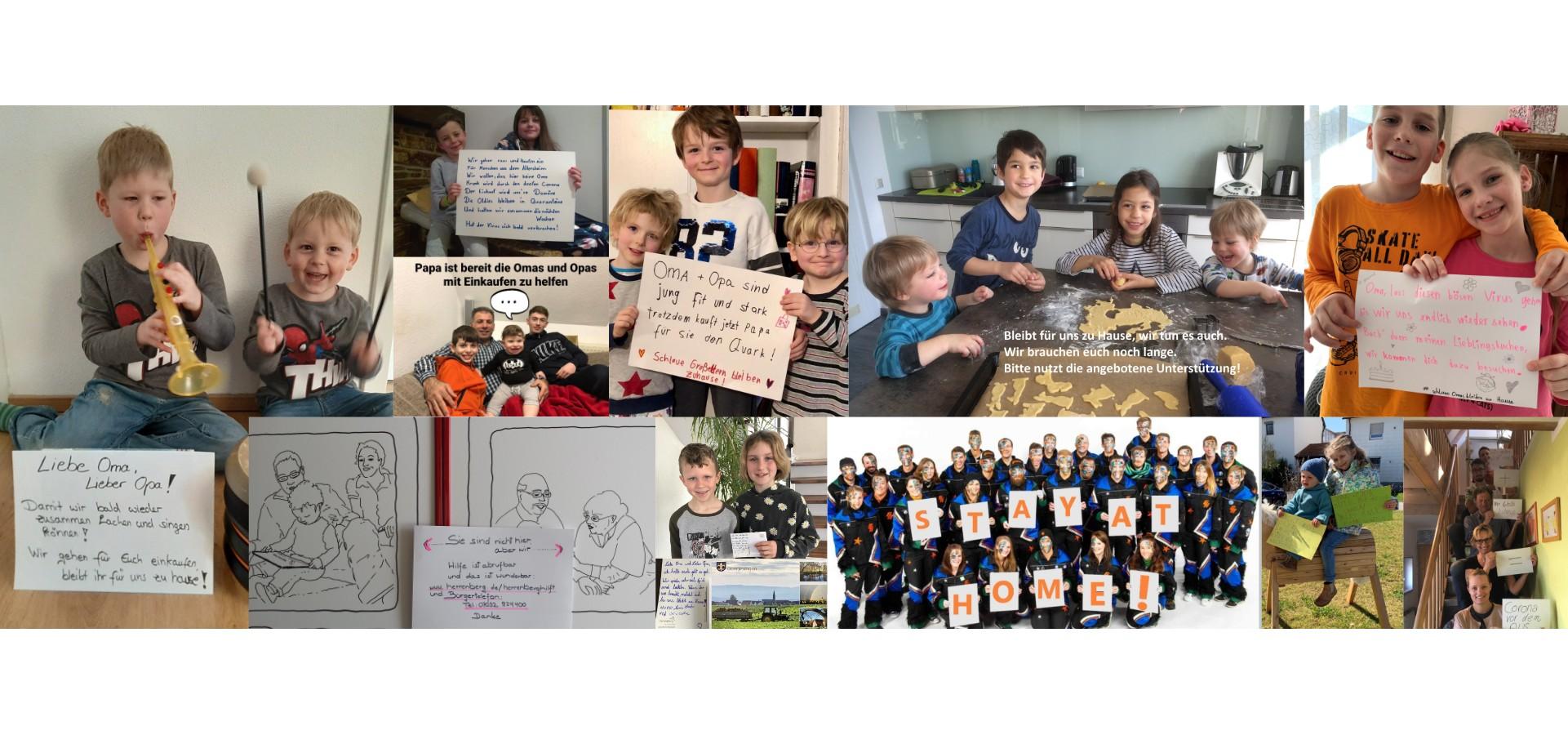 Collage von Herrenberg-Hilft-Fotos mit der Nachricht bleib zuhause
