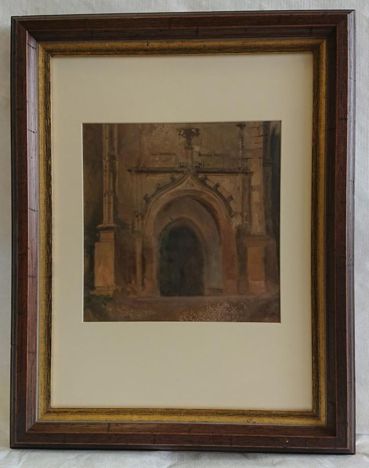 """Foto des Gemäldes """"Kirchenportal"""" von Theodor Schüz."""
