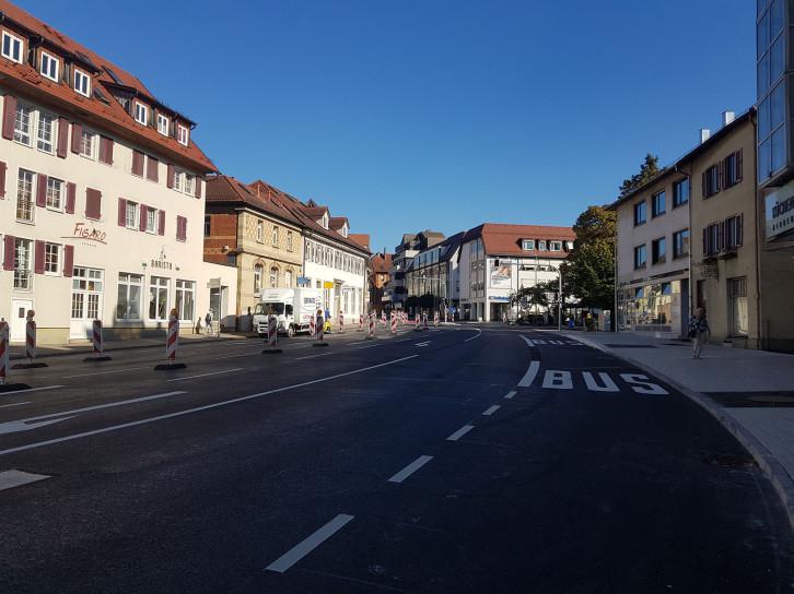 Ansicht der noch gesperrten und leeren Hindenburgstraße