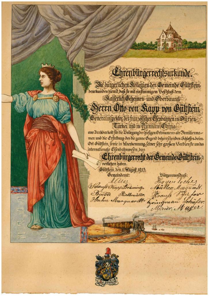 Abbildung der Ehrenbürgerurkunde für Otto Kapp