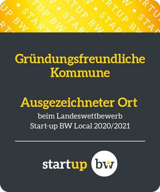 Logo Gründungsfreundliche Kommune Start-up BW grau