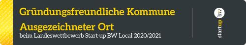 Logo Gründungsfreundliche Kommune Start-up BW lang grau