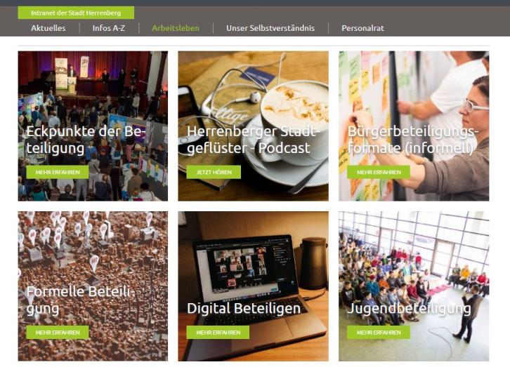 Screenshot von der Lernwelt zum Thema Beteiligung im städtischen Intranet