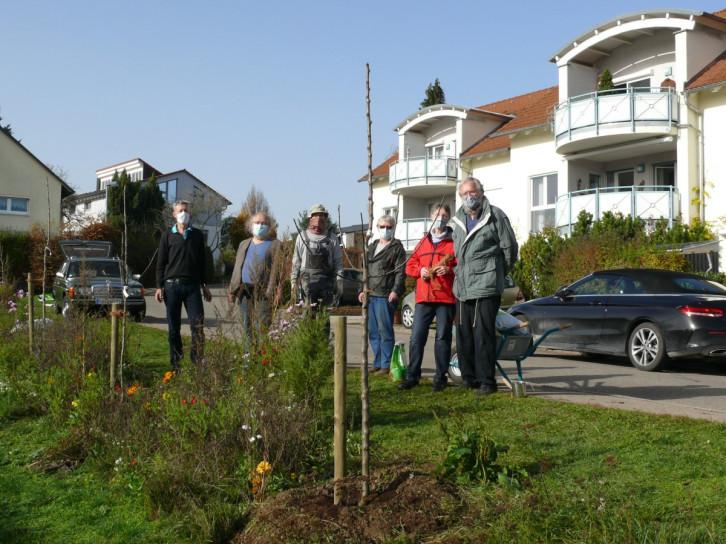 Die Obstbaumfreunde stehen beim neuen Bäumchn