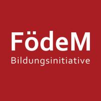 """Ein rotes Logo mit der weißen Aufschrift """"Födem Bildungsinitivative"""""""