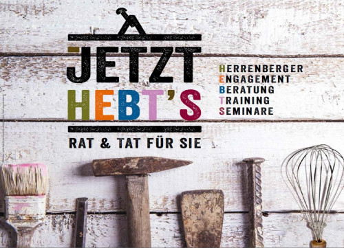 """Verschiedene Werkzeuge und die Überschrift """"Jetzt HEBT'S"""" sind zu sehen"""