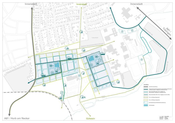 Dieses Bild zeigt die geplante Erschließung gemäß dem Rahmenplan