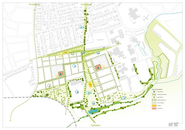 Dieses Bild zeigt die geplante Freiraumstruktur gemäß des beschlossenen Rahmenplans